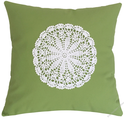 Throw Pillow Covers.Avocado Green Doily Decorative Throw Pillow Cover Cushion Cover 20x20