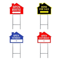 HOUSE SHAPE SIGNS W/FRAME MIX & MATCH 4PC PACK ($5.95 ea)