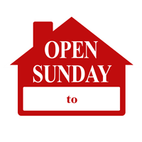 OPEN SUNDAY SIGN 4 PC PACK ($4.95 ea)