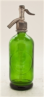 Green Half Liter Seltzer Bottle | The Seltzer Shop | Colored Argentine seltzer bottle - vintage seltzer pendant light - wine chiller interior design elements