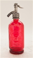Red Half Liter Seltzer Bottle | The Seltzer Shop | Colored Argentine seltzer bottle - vintage seltzer pendant light - wine chiller interior design elements