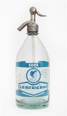 Vintage Graphic La Africana Blue Seltzer Bottle | The Seltzer Shop | Colored Argentine seltzer bottle - vintage seltzer pendant light - wine chiller interior design elements