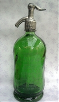 Green Silhouette Vintage Seltzer Bottle | The Seltzer Shop | Colored Argentine seltzer bottle - vintage seltzer pendant light - wine chiller interior design elements