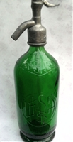 Green Relief Vintage Seltzer Bottle | The Seltzer Shop | Colored Argentine seltzer bottle - vintage seltzer pendant light - wine chiller interior design elements
