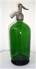 Acid Etched 1 Liter Green Vintage Seltzer Bottle