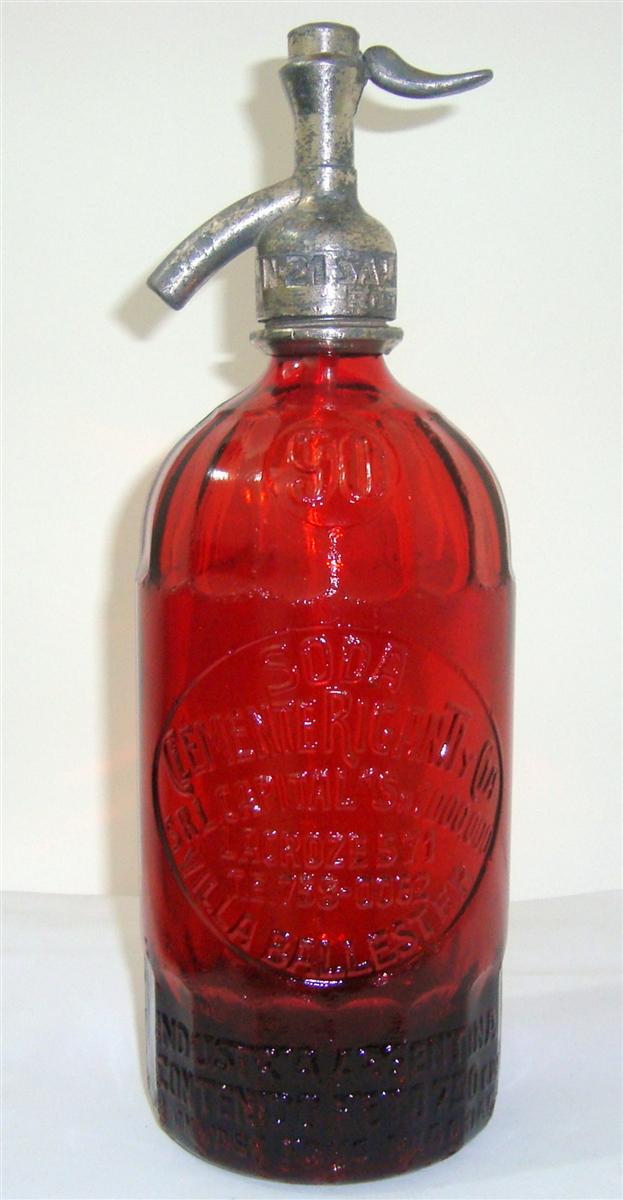 Clemente Rigante 90 Worked Glass Red Vintage Seltzer