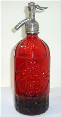 Clemente Rigante 90 Worked Glass Red Vintage Seltzer Bottle | The Seltzer Shop | Colored Argentine seltzer bottle - vintage seltzer pendant light - wine chiller interior design elements