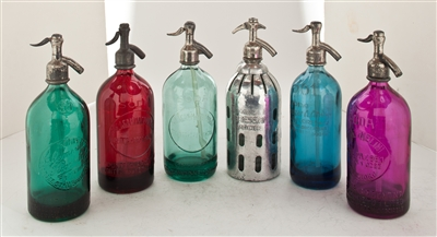Collection I Vintage Seltzer Bottles | The Seltzer Shop | Colored Argentine seltzer bottle - vintage seltzer pendant light - wine chiller interior design elements