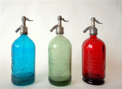 Collection IV Vintage Seltzer Bottles | The Seltzer Shop | Colored Argentine seltzer bottle - vintage seltzer pendant light - wine chiller interior design elements