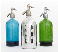 Collection IX Vintage Seltzer Bottles | The Seltzer Shop | Colored Argentine seltzer bottle - vintage seltzer pendant light - wine chiller interior design elements
