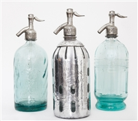 Collection X Vintage Seltzer Bottles | The Seltzer Shop | Colored Argentine seltzer bottle - vintage seltzer pendant light - wine chiller interior design elements