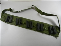 AUSTRALIAN 5 POCKET O.D. BANDOLEER WITH 10 ENFIELD 303 STRIPPER CLIPS.