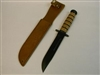 NEW ITEM ! USMC FIGHTING KNIVE WITH LEATHER SCABBARD