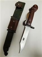ROMANIAN BAYONET AND SCABBARD WITH LEATHER FROG.