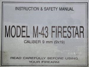 STAR PISTOL MODELM-43 FIRESTAR MANUAL
