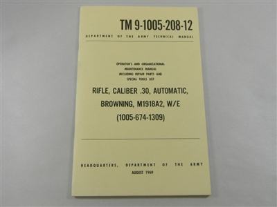 BAR RIFLE CAL .30 OPERATOR'S AND MAINTENANCE MANUAL