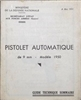 FRENCH MAC 50 PISTOL TECHNICAL PAMPHLET