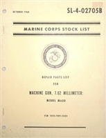 M60D MG REPAIR PARTS LIST BOOK