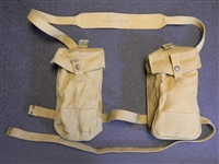 BREN GUN BRITISH WWII DATED BASIC POUCHES SET WITH SHOULDER STRAP.
