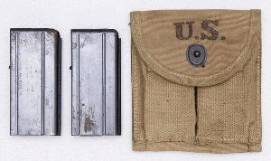 M1 CARBINE STOCK POUCH WITH 2 USED 15 ROUND MAGAZINES