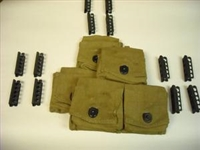 SUPER DEAL ! BRITISH ENFIELD RIFLE TWO 3 POCKET AMMO POUCHES WITH 12 STRIPPER CLIPS. SET OF 2 PIECES