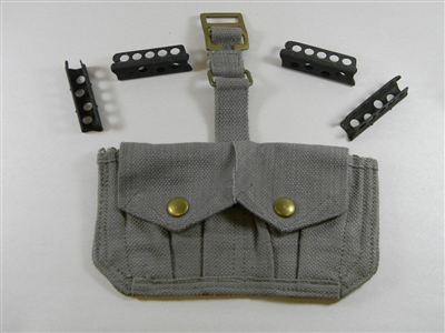 ENFIELD RIFLE AMMO POUCH LIGHT GRAY COLOR WITH (4) STRIPPER CLIPS