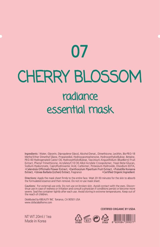 Cherry Blossom Shiny Hydrating Essential Mask 07