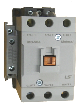 MC50A-30-11-BD-L-E   3 POLE CONTACTOR, LUG TYPE, METASOL, EXP, 24VDC, RATED  CURRENT: 50A, 1 N-O AND 1 N-C