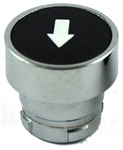 RB2-BA335...FLUSH PUSH BUTTON, SPRING RETURN, NON-ILLUMINATED, WHITE ARROW ON BLACK BASE