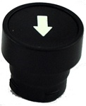 RB2-BA3357...FLUSH PUSH BUTTON, SPRING RETURN WITH BLACK METAL BEZEL, NON-ILLUMINATED, WHITE ARROW ON BLACK BASE
