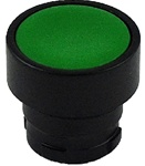 RB2-BA37...FLUSH PUSH BUTTON, SPRING RETURN WITH BLACK METAL BEZEL, NON-ILLUMINATED, GREEN COLOR