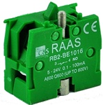 RB2-BE1016...CONTACT BLOCK SWITCH, NORMALLY OPEN, GOLD FLASH TYPE, GREEN