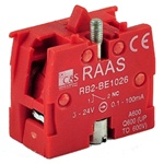 RB2-BE1026...CONTACT BLOCK SWITCH,NORMALLY CLOSED,GOLD FLASH TYPE,RED