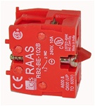 RB2-BE1026-BP...CONTACT BLOCK, BASE MOUNTED, NORMALLY CLOSED, STANDARD TYPE, <b>FOR CONTROL STATION RC-P BOX MOUNTING ONLY</B>, GOLD FLASHED