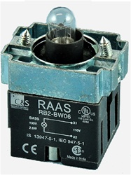RB2-BW06-12...BODY ASSEMBLY FOR PUSH BUTTON & SELECTOR, 12AC/DC, WITHOUT CONTACT BLOCKS