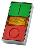 RB2-BW9...DOUBLE-HEADED PUSH BUTTON OPERATING HEAD; ILLUMINATED; GREEN, AMBER AND RED COLOR