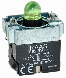 RB2-BWL73-24...BODY ASSEMBLY FOR PUSH BUTTON & SELECTOR, 24AC/DC, WITHOUT CONTACTS, LED, GREEN COLOR