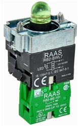 RB2-BWL731-24...BODY ASSEMBLY FOR PUSH BUTTON & SELECTOR, 24AC/DC, WITH NO CONTACT, LED, GREEN COLOR