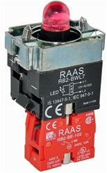RB2-BWL742-12...BODY ASSEMBLY FOR PUSH BUTTON & SELECTOR, 12AC/DC, NC CONTACT, LED, RED COLOR
