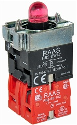 RB2-BWL744-110...BODY ASSEMBLY FOR PUSH BUTTON & SELECTOR, 110AC, NC+NC CONTACTS, LED, RED COLOR