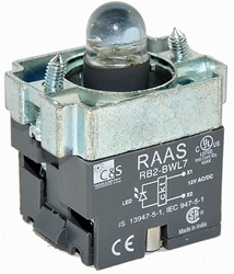 RB2-BWL76-24...BODY ASSEMBLY FOR PUSH BUTTON & SELECTOR, 24AC/DC, WITHOUT CONTACTS, LED, BLUE COLOR
