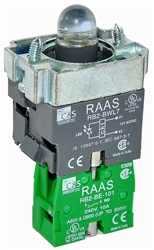 RB2-BWL761-24...BODY ASSEMBLY FOR PUSH BUTTON & SELECTOR, 24AC/DC, NO CONTACT, LED, BLUE COLOR