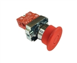 RCB2-BT432...40MM DIAMETER PUSH/PULL TYPE MUSHROOM HEAD METAL PUSH BUTTON ASSEMBLY - (INCLUDES 40MM DIAMETER RED PUSH/PULL TYPE OPERATING HEAD(Pre-Marked) + FIXING COLLAR + N-C CONTACT