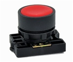 RCP2-BA4...FLUSH PLASTIC PUSH BUTTON, SPRING RETURN, NON-ILLUMINATED, WITH CARRIER, RED COLOR