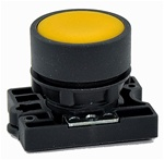 RCP2-BA5...FLUSH PLASTIC PUSH BUTTON, SPRING RETURN, NON-ILLUMINATED, WITH CARRIER, YELLOW COLOR
