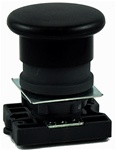 RCP2-BC2...MUSHROOM HEAD PLASTIC PUSH BUTTON WITH CARRIER, SPRING RETURN,  NON-ILLUMINATED, BLACK COLOR