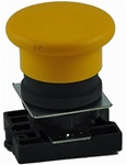 RCP2-BC5...MUSHROOM HEAD PLASTIC PUSH BUTTON WITH CARRIER, SPRING RETURN,  NON-ILLUMINATED, YELLOW COLOR