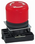 RCP2-BS44...30MM MUSHROOM HEAD PLASTIC PUSH BUTTON WITH CARRIER, NON-ILLUMINATED, STAY-PUT TYPE, RED COLOR