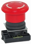 RCP2-BS54...40MM MUSHROOM HEAD PLASTIC PUSH BUTTON WITH CARRIER, NON-ILLUMINATED, STAY-PUT TYPE, RED COLOR