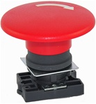 RCP2-BS64...60MM MUSHROOM HEAD PLASTIC PUSH BUTTON WITH CARRIER, NON-ILLUMINATED, STAY-PUT TYPE, RED COLOR